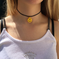 Smiley face 90s choker necklace, black cord necklace, 90s choker