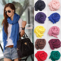 2015 Brand Candy Color Silk scarf women fashion shawl cotton voile scarves women's summer foulard soft cape cachecol feminino WJ