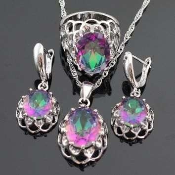 Huge Multicolor Rainbow Cubic Zirconia Silver Color Jewelry Sets For Women Earrings/Necklace/Pendant/Ring Free Gift Box