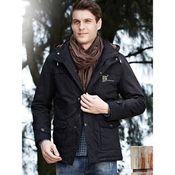 Men's Classic Field Coat Fleece Lined Jacket Hooded Warm Winter Coats