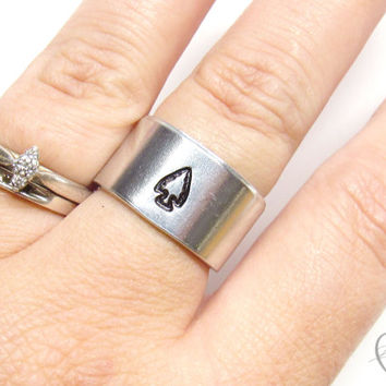 Arrowhead Ring - Handstamped Ring - Tribal Ring - Bohemian Ring - Arrowhead Jewelry - Personalized Ring - Arrow Ring - Festival Jewelry