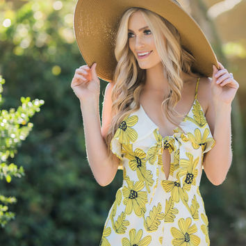 Marlow Yellow Floral Tie Front Romper