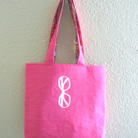 Tote Bag- sunglasses print on hot pink