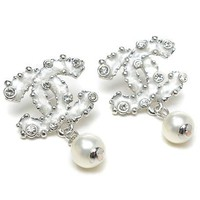 Perfect Chanel Woman Fashion Logo Diamonds Pearls Stud Earring For Best Gift