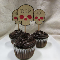 Set of 12 Over the Hill Birthday Halloween Party Coffee Dyed Skull Cupcake Toppers