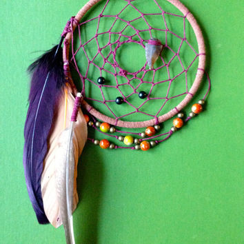 Dream Catcher - Bohemian - Gypsy - Purple, Red, Orange - Hippie Dreamcatcher