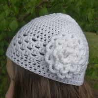 Crochet Beanie, Womens Beanie Hat / Cap in White with Large Flower, Beanie Cap from N-Chanted Clocks & Gifts