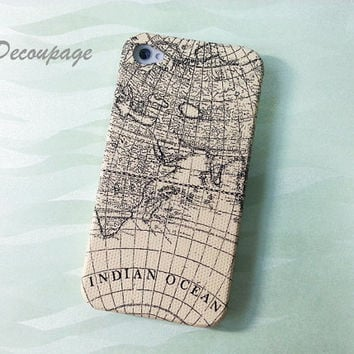 Vintage World Map - iPhone 4 Case , iPhone 4s Case , iPhone 3g , 3gs  , Samsung Galaxy S2 , S3 , Vintage Case