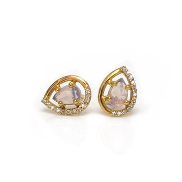 Lilac Quartz Dew Drop Studs