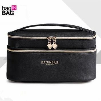 ESBONHS Fashion Double Layer Brand Cosmetic Bag Cross PU Leather Multifunctional Make Up Bag Organizer Makeup Pouch Toiletry Bag neceser
