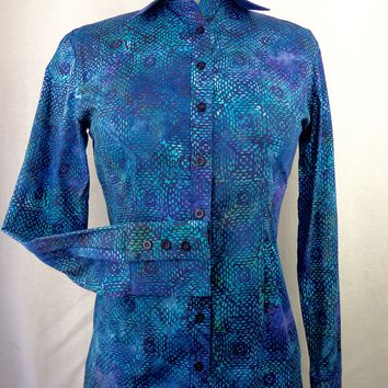 Women's Blue Square Batik CR Tradition Western Shirt