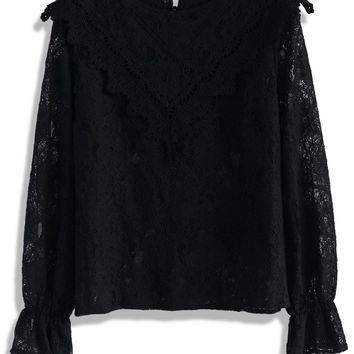 Victorian Dream Full Lace Top in Black