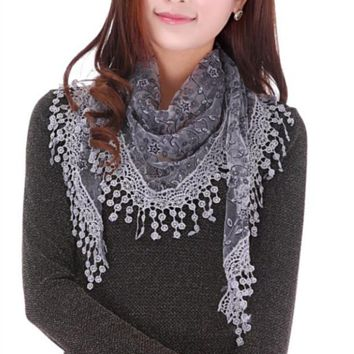 Sheer Lace Fringe Shawl Scarf (More available colors)