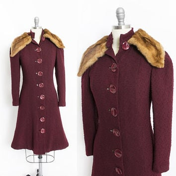 Vintage 1940s Coat - Burgundy Wool Fitted Fur Collar 40s - XS Extra Small
