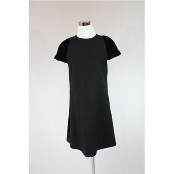 Authentic GIANNIE VERSACE black VELVET + wool short sleeves one piece evening dress made in Italy 90s size xs - s