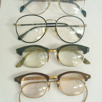 Vintage Eye Glasses Lot of Four Pair / 50s 60s 80s Eyeglasses / Geek Nerd
