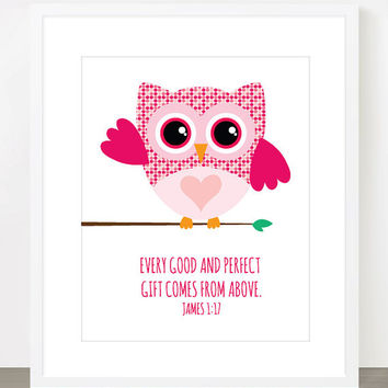 Every Good and Perfect Gift Comes from Above - James 1:17 - 8x10 Print - Christian Scripture Nursery Art