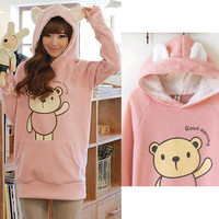 New Emo Japanese Korean Kawaii Sweet Faux Fur Bear Sweater Hot Hoodie Shirt Top