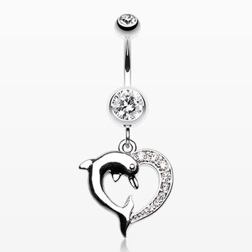 Enchanting Heart Dolphin Belly Button Ring