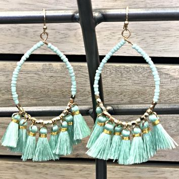 Paired Together Mint Tassel Earrings
