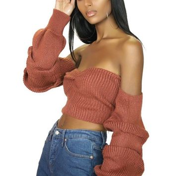 Mon Cheri Knit Off Shoulder Cropped Sweater Terra Cotta