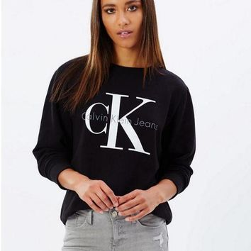 DCCKHI2 Calvin Klein Printed Womens Casual Long Sleeve Pullovers Sweaters Black Tagre-