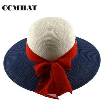 CCMHAT Women Red Scarf Decoration Sun Hats 2017 Fashion Foldable Paper Straw Hats For Women Wide Brimed Summer Women Panama Hat
