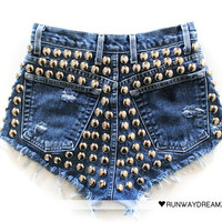 Runwaydreamz : 609 Vintage Studded Back Short - $ 172
