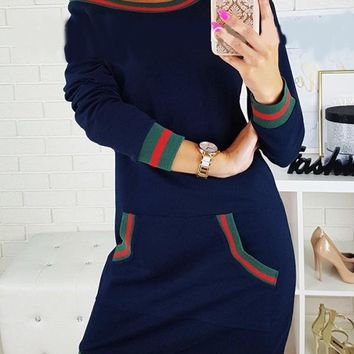 New Dark Blue Striped Pockets Round Neck Casual Sweet Going out Mini Dress