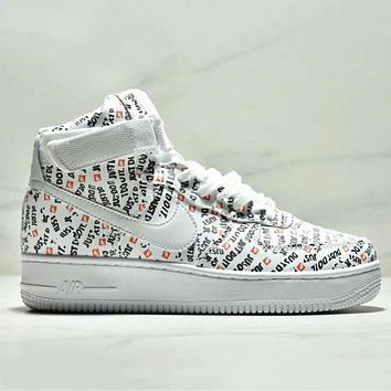 NIKE Just Do It Air Force 1 High Fashion New More Letter Print Running Sports Leisure Women Men Shoes White