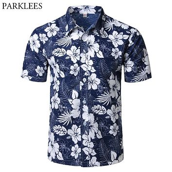 92041926 Mens Summer Beach Hawaiian Shirt 2018 Brand Short Sleeve Plus Si