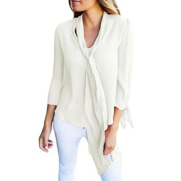 Women's Solid 3/4 Sleeve Chiffon Blouse Top with Draped Neck Tie Accent - Multiple Colors Available!!