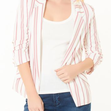 LE3NO Womens Casual Stripe Ruched 3/4 Sleeve Open Front Blazer