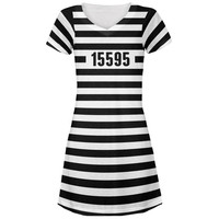 Halloween Prisoner Old Time Striped Costume All Over Juniors V-Neck Dress