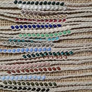 Beaded Braided Hemp Friendship Anklet - Tie On