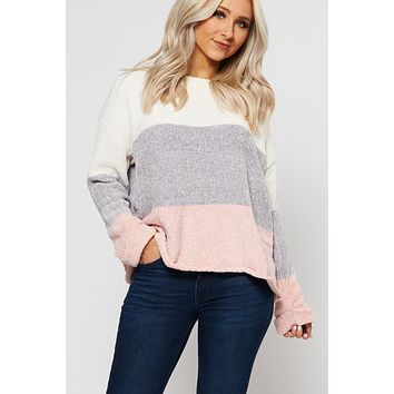 Terry Color Block Sweater (Blush)