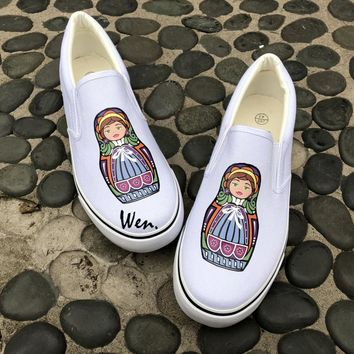 Wen Original Men Women's Slip On Shoes Design 2 Colors Shoes Colorful Russia Matryoshka White Black Canvas Sneakers