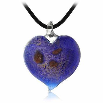 Murano Glass Dark Blue Glitter Heart Silk Pendant Necklace