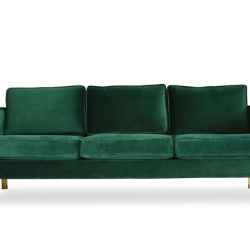 Lexington Mid-Century Modern Velvet Sofa Emerald Green / Polished Goold