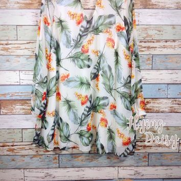 Tropical Floral and Feather Choker Dress