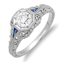 Platinum Art Nouveau Style Diamond and Sapphire Hand Engraved Engagement Ring with .54 FG-VS1 European Cut Diamond