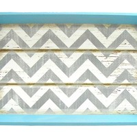 Turquoise, White & Gray Chevron Tray | Shop Hobby Lobby