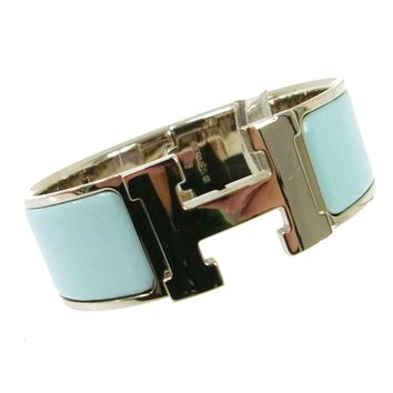 Auth HERMES Vintage H Logos Clic Clac Bangle Silver Blue Accessories AK16649