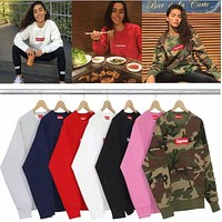 Supreme   Cotton high-quality men's couples with cashmere sweater
