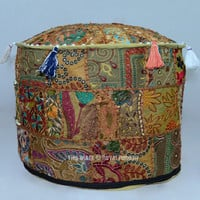 Multicolor Bohemian Patchwork Embroidered Round Indian Pouffe Ottoman on RoyalFurnish.com