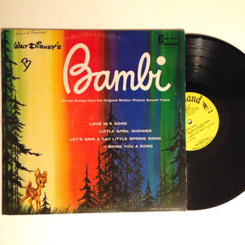 Vinyl Record Walt Disneys Bambi LP Album 1963 Wintry Woods Thumper Cartoon Disney