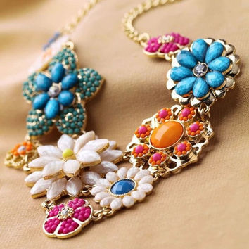 Bohemian Rhinestone Flower Crystal Chain Choker Chunky Statement Bib Necklace = 1928679940