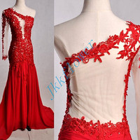 Long Red One Shoulder Prom Dresses 2015,Backless Lace Applique Prom Dresses,Mermaid Evening Dresses,Bridesmaid Dresses,Homecoming Dresses
