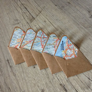 Map envelopes France - set of 5 crafted small mini envelopes with cards - writing paper - light blue grey rustic  - europeanstreetteam