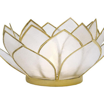 Gold Edged Lotus Capiz Candle Holder Centerpiece